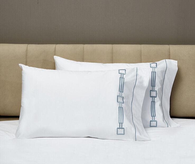 Signoria Firenze Retro King Kissenbezug Paar - Weiß Wilton Blau | Qualität