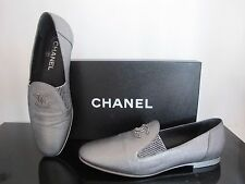 CHANEL Metallic Silver Leather CC Logo Moccasins LOAFERS Flats w/Box 38.5 $795