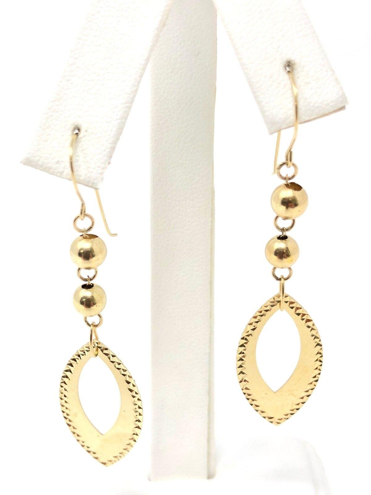 "Italian 14k Yellow Gold Drop Down Oval Dangling Earrings 2.25/"" 2grams"