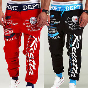 Men-039-s-Letter-Printed-Sport-Sweat-Pants-Jogging-Jogger-Trousers-Tracksuit-Bottoms