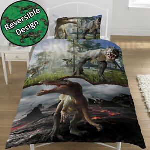 Jurassique-Predators-Housse-Couette-Simple-Ensemble-Enfants-Dinosaure-2-IN-1