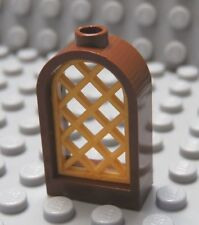 LEGO Brown Window 1 x 2 x 2 2/3 with Rounded Top and Pearl Gold Sash
