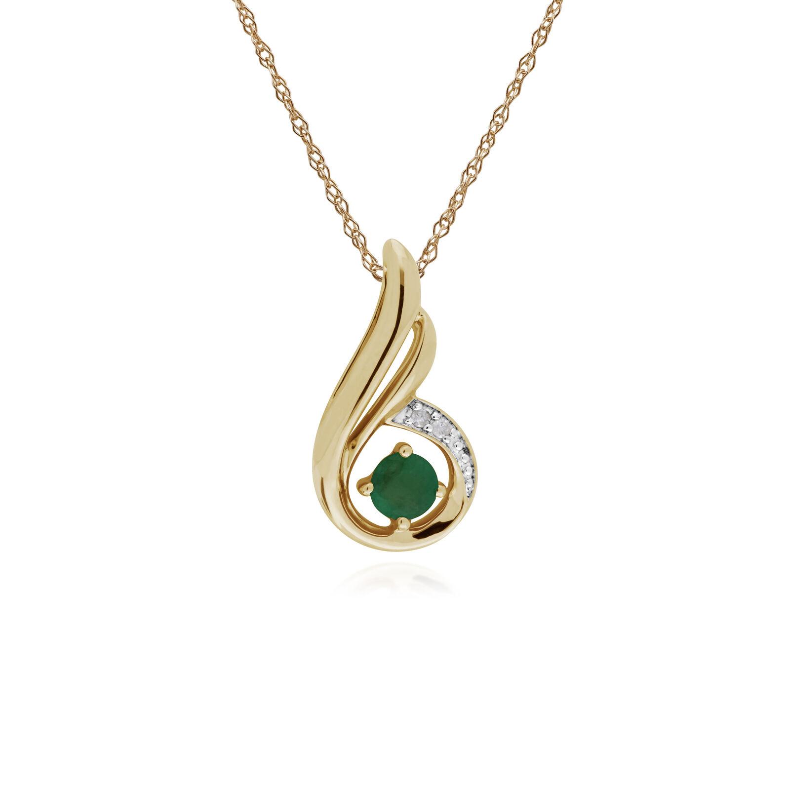 Gemondo 9ct Yellow gold Emerald & Diamond Spiral Pendant with 45cm Chain