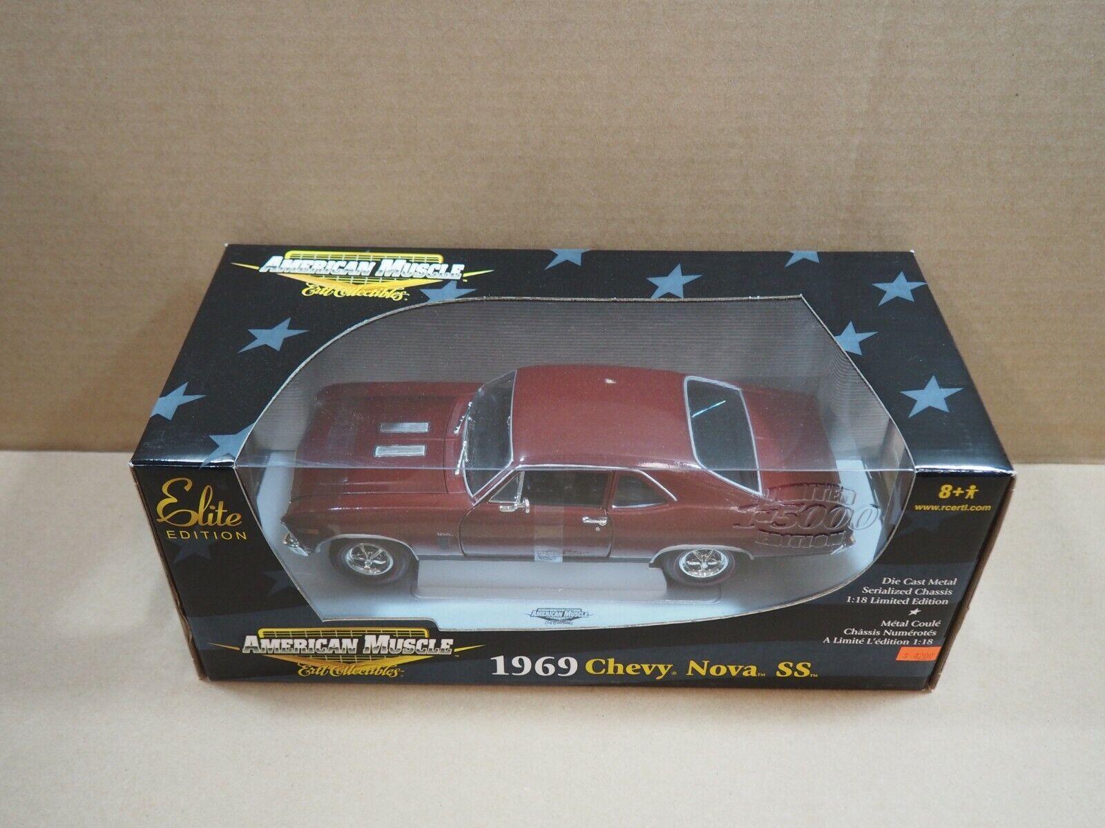 Ertl American Muscle Elite Edition - 1969 Chevy Nova Ss 1 18 DIE-CAST Edición Limitada Nuevo En Caja