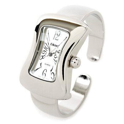 Silver Melting Shape Case Small Size Women's Bangle Cuff Watch