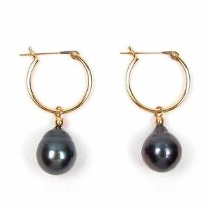 Details About 9 10mm Tahitian Black Pearl 14k Yellow Gold Hoop Earrings