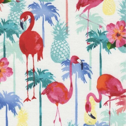 100/% Cotton Fabric Timeless Treasures Flamingos /& Pineapples