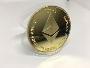 Details about Ethereum Collectible Coin Crypto Commemorative physical gold  plated Ether USA