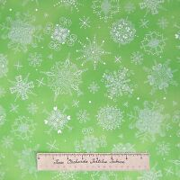 Christmas Fabric - Silver Gild Snowflakes Sherbet Green - Hoffman Cotton 21