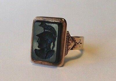 Antique Victorian Black Onyx Intaglio 10K Rose Gold Ring Size 7.5 Fleur de Lis