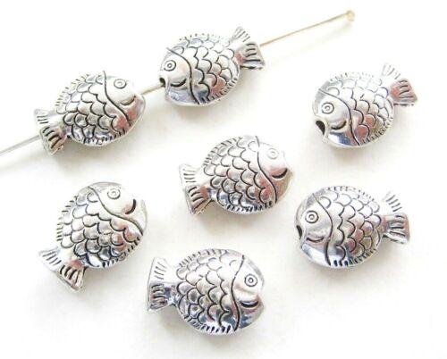 Metal perlas entre perlas peces 10x14mm plata Antik 10 unidades serajosy