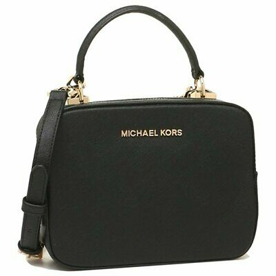 a7a5fa5ba6837 Details about NWT Michael Kors KARLA Top Handle Camera Bag Leather  Crossbody in Black