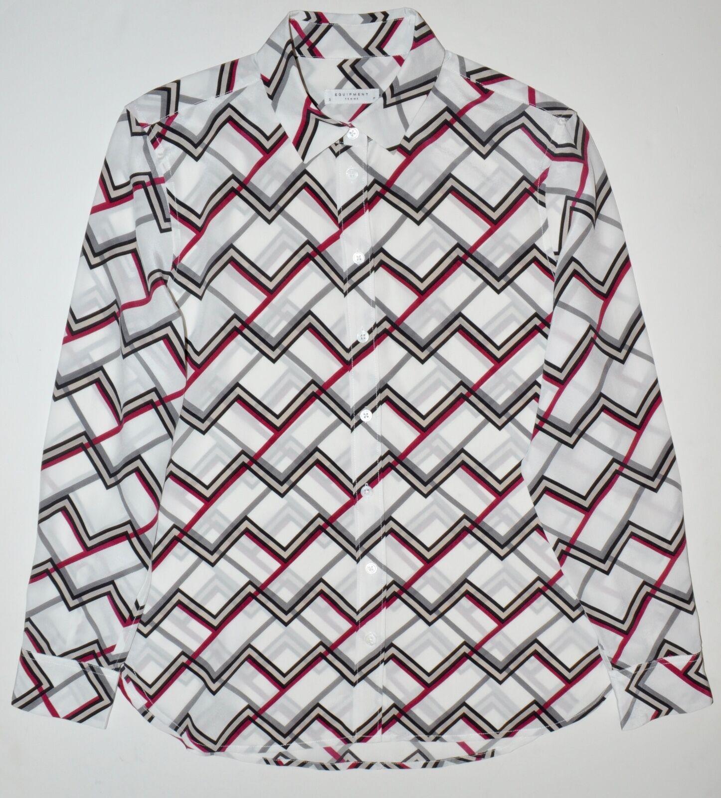 EQUIPMENT Leema Chevron Zigzag Print Silk Shirt Blouse Größe Small S