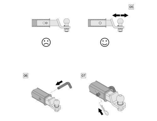 Für Dodge Magnum Anhängerkupplung Adapter US-Fahrzeuge gerade 51x51mm Kugelkopf