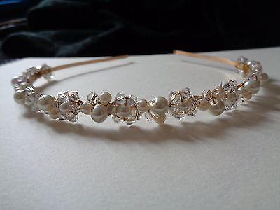 Gold Ivory glass pearl & clear crystal hairband headband bridal bridesmaid prom