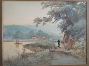 Estampe-japonaise-originale-et-signee-034-Promenade-au-bord-du-fleuve-034