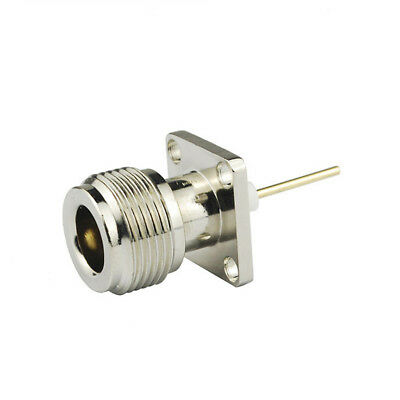 50-Pack UHF PL-259 4 Hole Flange Mount Coax Connector with Solder Cup Terminal