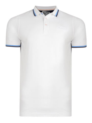 Lee Cooper Men Cotton Polo Shirt Jersey Top T-shirt New Lanridge White Navy Blue
