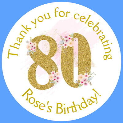 Personalised Gloss 80th Festa Di Compleanno Favore Etichette, Adesivi Di Ringraziamento-mostra Il Titolo Originale Essere Altamente Elogiati E Apprezzati Dal Pubblico Che Consuma