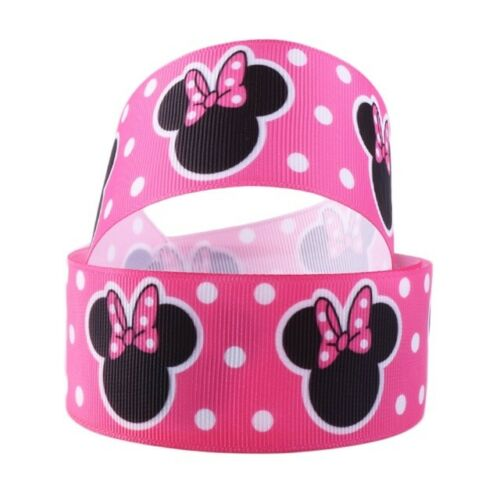 """GROSGRAIN MINNIE MOUSE PINK 1.5/"""" INCH RIBBON FOR HAIR BOWS DIY CRAFTS"""