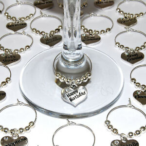 Wedding wine glass charms top table birthday christmas party Favours ...