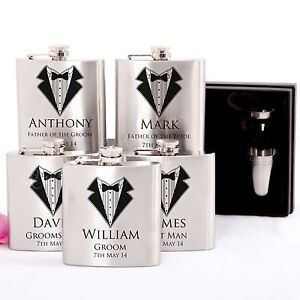 5x-Engraved-Stainless-Hip-Flask-Gift-Personalised-Wedding-Groomsman-Bridal-Party