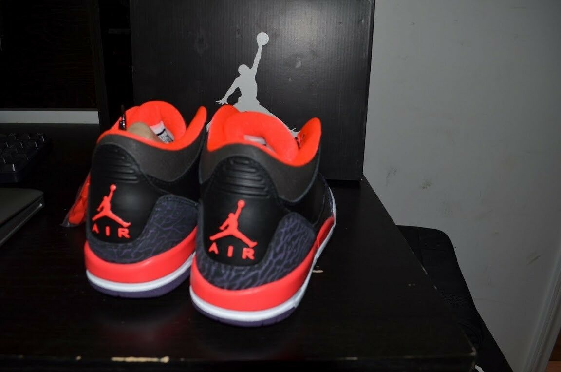 Air Air Air Jordan 3 III Retro Black Crimson (GS) cement 3 iii purple size 3.5Y 4.5Y 9110ff