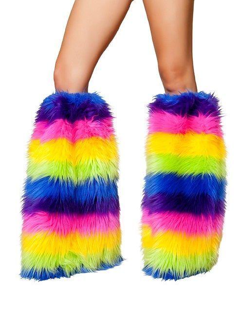 Roma Rainbow Legwarmers Furry Warmers Rainbow Warmers C121 Rave Legwarmer ST