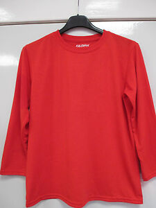 New-Gildan-Performance-Childrens-Unisex-Long-Sleeve-Top-Age-7-8-RED