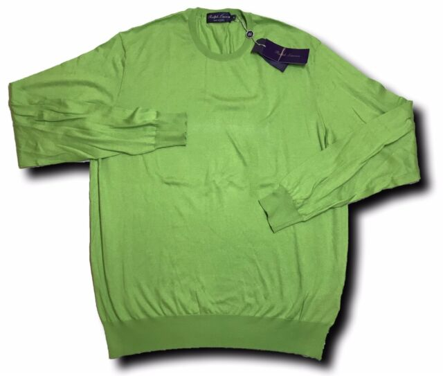 700$ Ralph Lauren Purple Label Green Crewneck Sweater Size XL Made In Italy