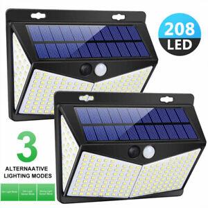 208-LED-ENERGIA-SOLARE-SENSORE-PIR-Parete-Giardino-Esterno-Impermeabile-Luci-Lampada