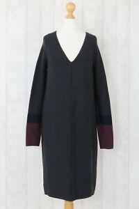 Farhi-by-Nicole-Farhi-S-UK-10-36-Grey-Cotton-Wool-Mix-Stylish-Jumper-Dress
