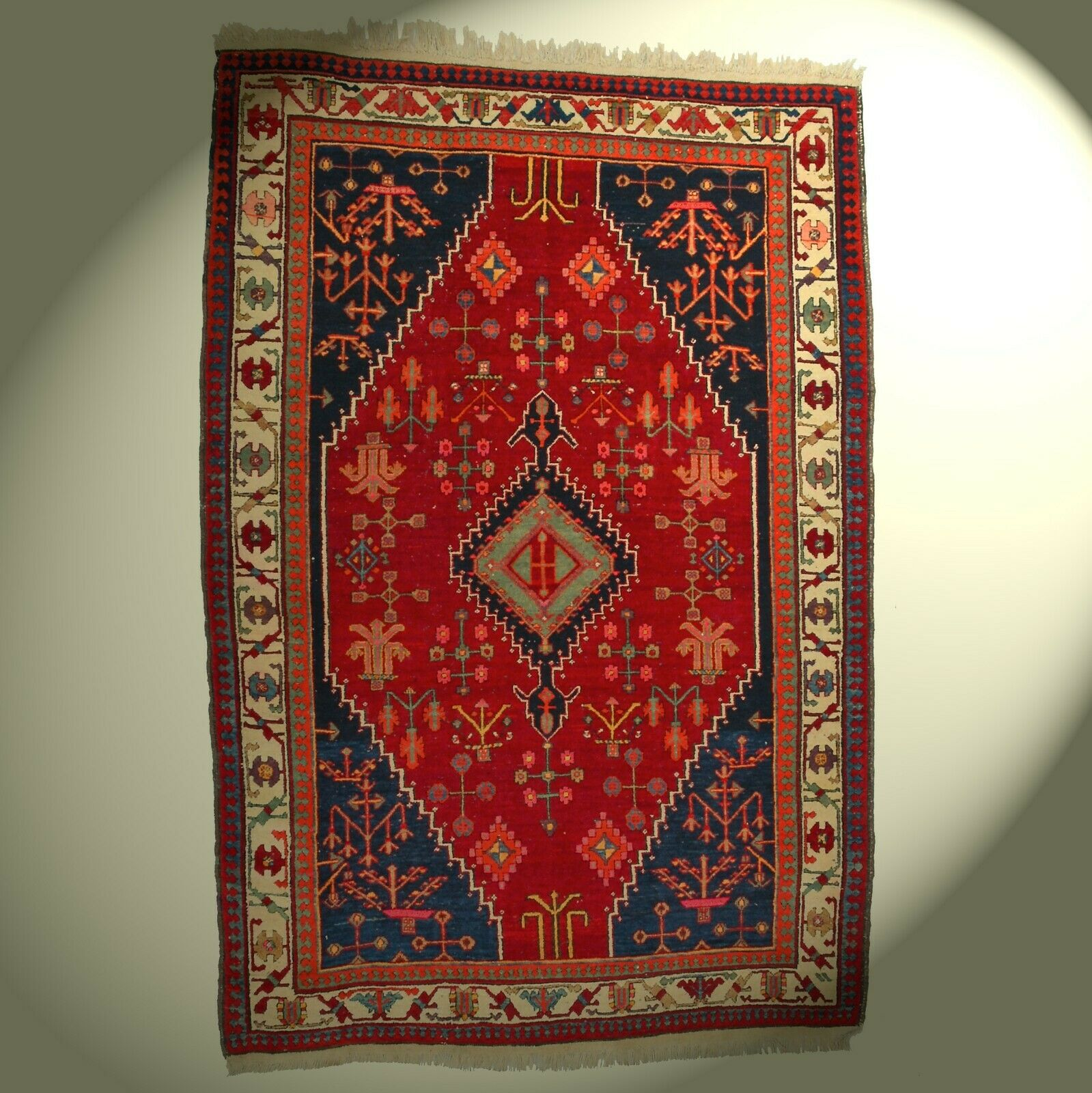 Semi Antico Vero Orient-Teppich Annodato a Mano Lana 215x145 cm rouge Rarità Wow
