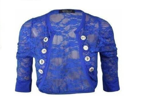 Womens Ruched 3//4 Sleeve Military Style Shrug Ladies Floral Lace Bolero Top 8-14