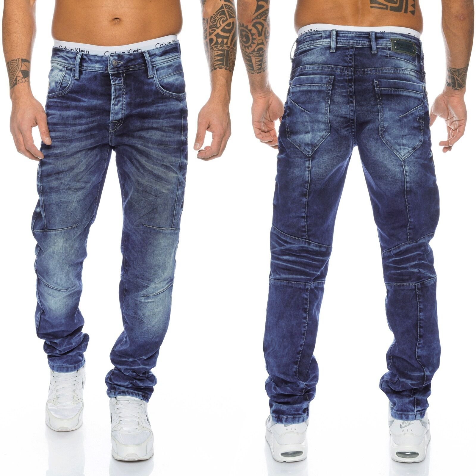 Cipo & Baxx Uomo Denim Jeans Pantaloni 286 BLU NUOVO w28 29 30 31 32 33 34 36 38 40