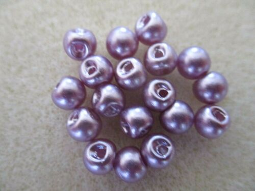 8MM DARK LILAC PEARL OFF SET HOLE SEW ON RESIN BUTTONS BEADS VARIOUS PACK SIZES