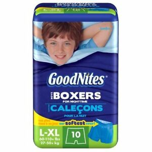 GoodNites Boys Boxers for Nighttime L-XL (60-110 lbs) - 10-count