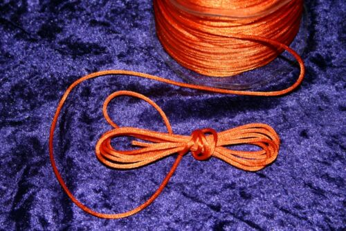 NEON bright ORANGE ROUND CORD rats tail heavy 2mm THIN 80s SEWING trim strong