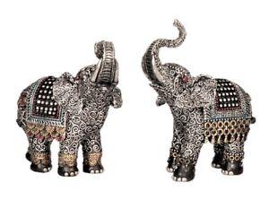 2-Elefanten-Figuren-mit-Glitzersteinen-16-cm-Elefant-Asia-Tierfigur