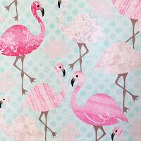 Flamingos fabric, flamingo bird, blue retro kitsch stork pink
