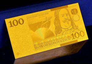 """★★ Pays Bas / Netherlands : Billet Polymer """" Or """" Du 100 Gulden ★★ Vous Garder En Forme Tout Le Temps"""
