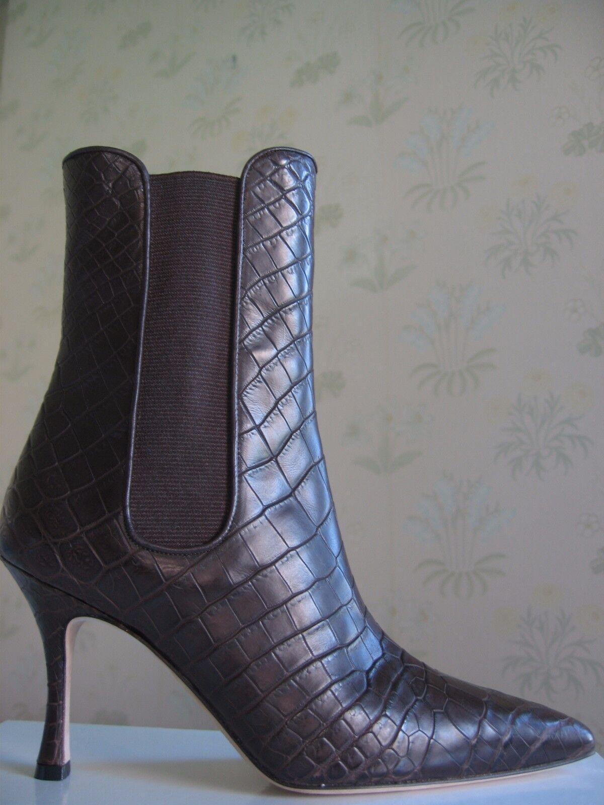5950 Nuevo Manolo Blahnik toialo toialo toialo Marrón De Cocodrilo Botines Zapatos 35,5  ventas al por mayor