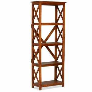 buy popular 047d9 11753 Details about vidaXL Solid Acacia Wood Bookshelf Sheesham Finish  60x30x160cm Standing Unit