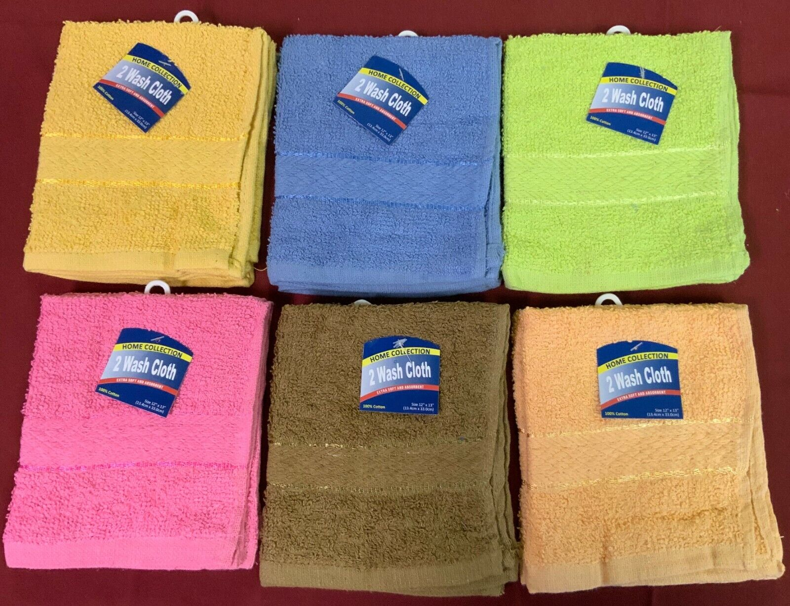 Superior 240 -Piece 100%  Cotton Washcloth Face Towels Größe 12  X 13  in 6 Farbe