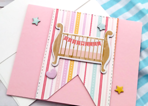 Handmade Greeting Card Baby Girl Infant Pink Crip Pattern A2 Size w / Envelope