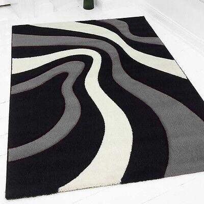 Teppich frieze Designer-Teppich Amaba grau schwarz verschied Größen 1836 NEU