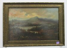 ANTIQUE LANDSCAPE PAINTING - HUDSON RIVER VALLEY SCHOOL Oil Board Mountain Lake