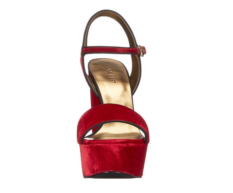 Nine West Women's Carnation Fabric Heeled Sandal, Red Velvet, Velvet, Velvet, 6 M US 31ceee