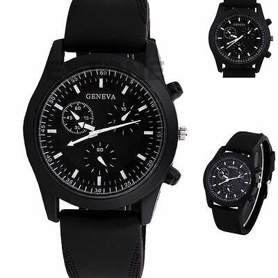 6 Colors New Cool Unisex Luxury Black Dial Sports Watch Rubber Strap Wristwatch
