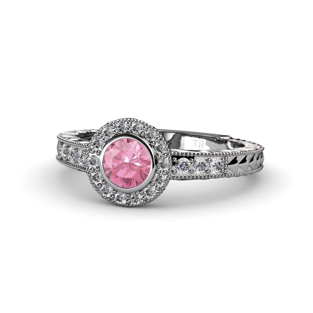Round Pink Tourmaline Diamond Women Halo Engagement Ring 14K gold JP 54923